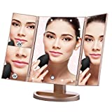 Lighted Makeup Mirror EMOCCI Tri-Fold Vanity Mirrors With 3X 2X 1 Magnification,USB Charging 180 Degree Free Rotation Mirror For Women Girls Cosmetic Make Up Bathroom Countertop Use (Gold) For Sale