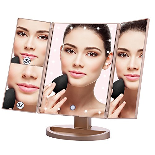 Lighted Makeup Mirror EMOCCI Tri-Fold Vanity Mirrors With 3X 2X 1 Magnification,USB Charging 180 Degree Free Rotation Mirror For Women Girls Cosmetic Make Up Bathroom Countertop Use - Rose Large Gold Mirror
