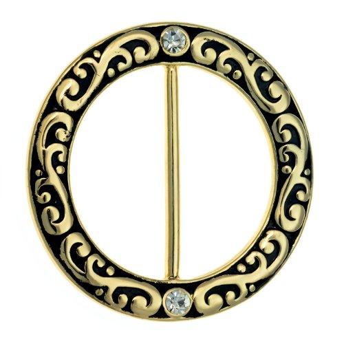PammyJ Goldtone Filigree with Rhinestone Scarf Ring ()