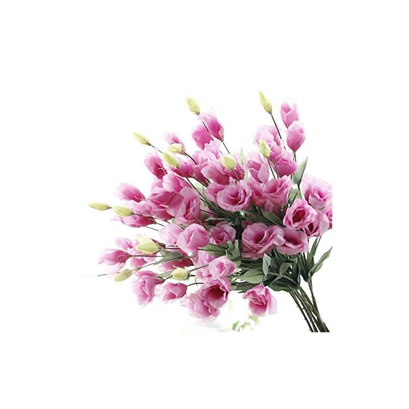 "silk flower arrangements tutuziyyy artificial flowers 31"" long stem 7 heads platycodon grandiflorum flower bouquet wedding party home decor, pack of 3 (pink purple)"