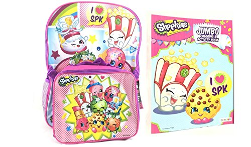 Shopkins Sweet School Backpack Set 16 Large Backpack With Matching Lunch Bag Plus 1 Pc Coloring Book