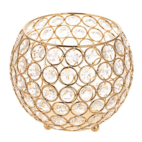 ManChDa Valentines Gift Gold Crystal Bowl Votive Candle Holders Fireplace Candelabra for Coffee Table Centerpieces Anniversary Celebration,Modern Home Decor Wedding (6 Inches)