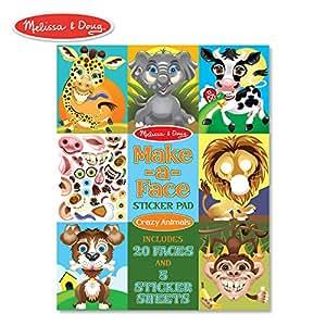 Melissa & Doug Make-a-Face Sticker Pad - Crazy Animals, 20 Faces, 5 Sticker Sheets