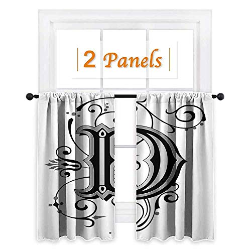 maisi Letter D, Curtains and Valances, Initial Letter from Medieval Scrolls Capital D Symbol Medieval Design Print, for Sliding Glass Door (W55 x L45 Inch) Black Grey White
