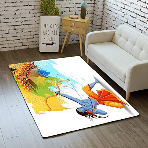 iBathRugs Door Mat Indoor Area Rugs Living Room Carpets Home Decor Rug Bedroom Floor Mats,Vector Illustration Lord rama Killing