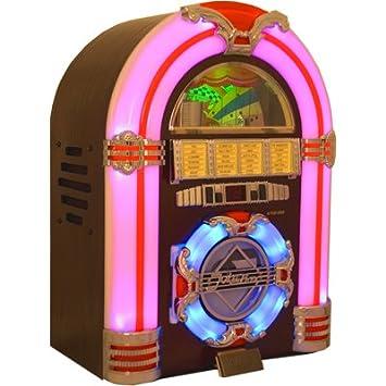 Classic Mini Desktop Jukebox AM/FM, CD With Multi-colour Lighting