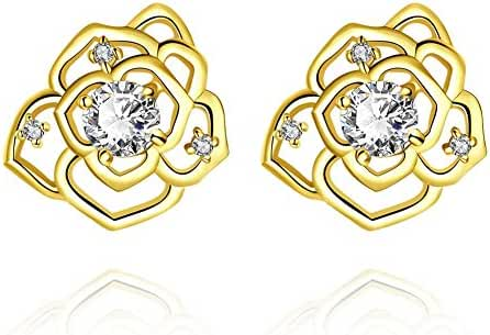 Fashion Stainless Steel Gold Plated Rose Crystal Stud Earrings Women-Guillermo B.Randle