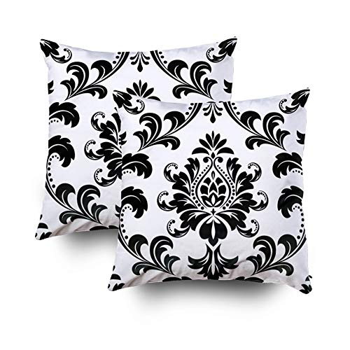 Pamime Square Throw Damask Floral Pattern Royal Flowers Black White Background a Pillow Case Cover Decorative Cushion for Home 18x18Inch(45X45cm) 2 Pack Pillowcase