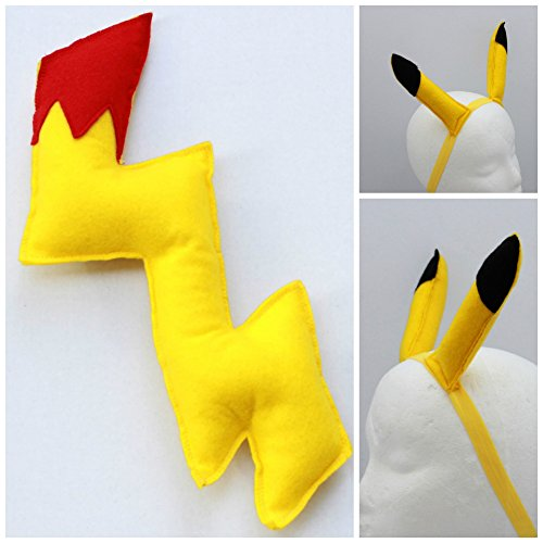 Pikachu pokemon ears and tail - pokemon tail - pikachu tail - pikachu ears (Pikachu Headband And Tail)
