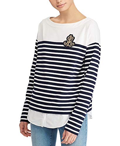Lauren Ralph Lauren Women's Petite Breton-Striped Cotton Sweater White/Navy ()