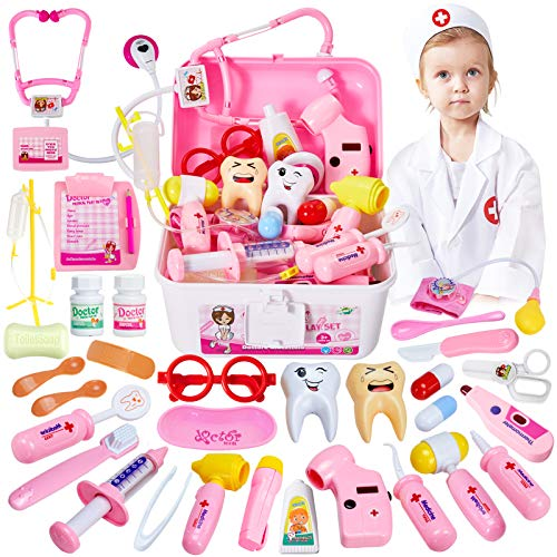 HERSITY Kids Doctors Kit Toy Medical Playset Nurses Costume Role Play Dentist Set with Carry Case Gifts for 3 4 5 6…