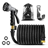 Panom Lightweight Expandable Garden Hose,No Kink Flexible Garden Hose - Expands from 17Ft to 50 Ft, Water Hose with 3/4 Solid Brass Fittings & 8 Function Spray Nozzle and Holder (Black)