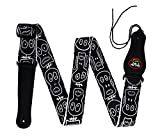 Rayzm Guitar Strap/Bass Strap, Polyester Belt for Acoustic/Electric /Bass Guitar with Pick Pocket & Cool Skull, 5cm Wide , Adjustable Length from 97cm to 155cm