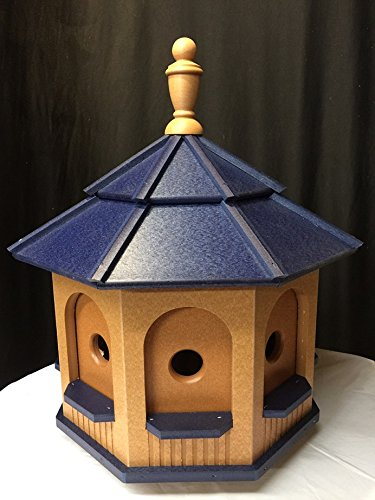 Large Poly Handcrafted Handmade Homemade Birdhouse Garden Cedar & Blue Roof