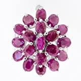 Authentic Rare Natural African Ruby Floral Flower Burst Ring 925 Silver