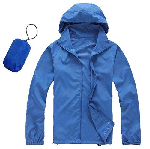 Lightweight Waterproof Rain Jacket UV Protect Quick Dry Windproof Skin Coat Active Outdoor Hoodie Coat Cycling Running Sport Jacket with Storage Bag for Men Women (XL, Blue)