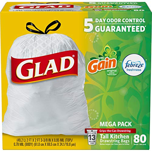 Odor Shield Tall Kitchen Bags with Gain Original Scent Mega Pack, 13 Gallon, 80 Count