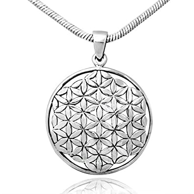 Amazon 925 sterling silver flower seed of life round pendant on 925 sterling silver flower seed of life round pendant on alloy necklace chain 18 inches mozeypictures Gallery