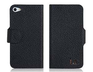 Litchi Groove Diseño PU y PC funda protectora tapa con una función de protección de Shell para el iPhone 5 (Negro)