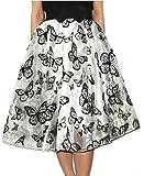 Jojobaby Lady's Organza Princess Skirt Bowknot Pleated Midi/ Knee Length Skirts (Butterfly White)