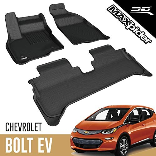 3D MAXpider All-Weather Floor Mats for Chevrolet Bolt EV 2017 2018 2019 2020 Custom Fit Car Floor Liners, Kagu Series (1st & 2nd Row, Black)