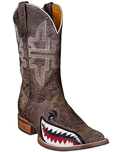 (Tin Haul Shoes Men's Gnarly Shark, Brown Crackle, 11.5 EE US)