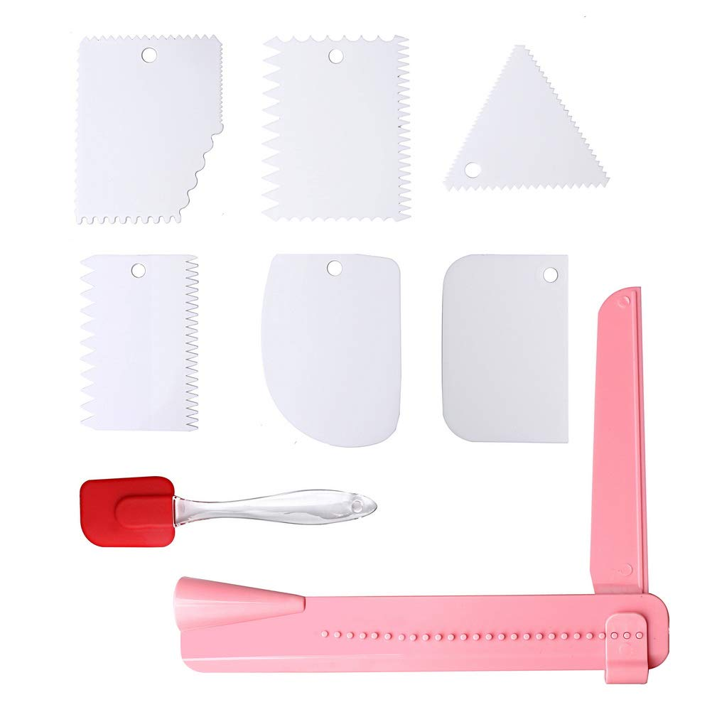 pengxiaomei 8Pcs Plastic Cake Edge Cake Dough Scraper Cutters with Silicone Rubber Spatula and Adjustable Buttercream Smoother Tool for Cake Cream Baking