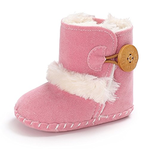 Meeshine Winter Warm Baby Boots Premium Soft Sole Prewalker Newborn Infant Boy Girl Crib Shoes Snow Boots(Large/12-18 Months,Pink 03) Soft Sole Crib Shoes