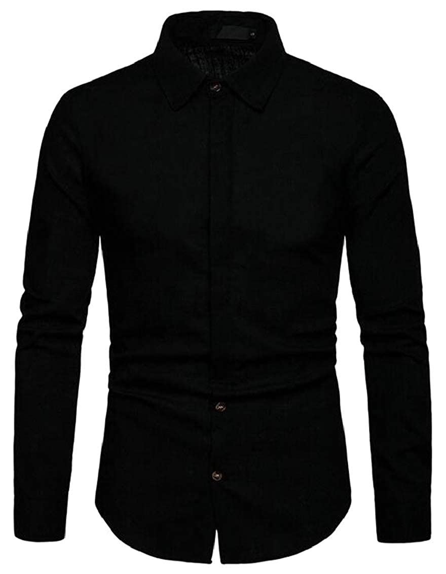 Hokny TD Mens Fashion Shirt Slim Plain Long Sleeve Button Down Shirts