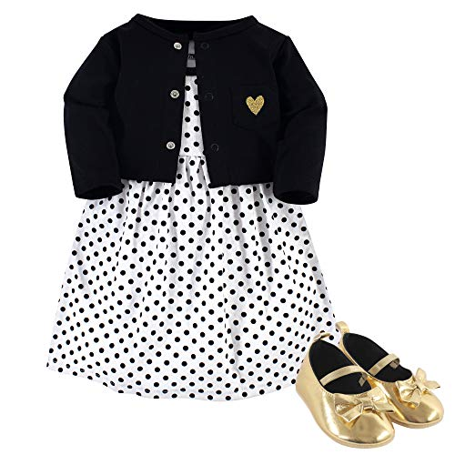 Hudson Baby Baby Girls Dress, Cardigan and Shoes, black Dot, 0-3 Months (3M)