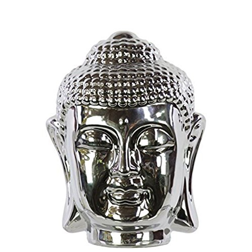 Ceramic Buddha head with Rounded Ushnisha Polished Chrome Finish Silver (Head Silver Buddha)