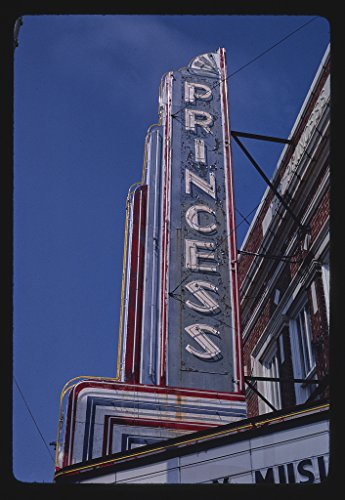 16 x 24 Gallery Wrapped Framed Art Canvas Print of Princess Theater Sign, Columbia, Mississippi 1986 Roadside Americana Ready to Hang ()