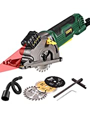 Circular Saw, TECCPO 3500RPM Compact Circular Saw with Laser, 3 Saw Blades, Scale Ruler and 4Amp Pure Copper Motor, Suitable for Wood, Tile, Aluminum and Plastic Cuts - TAPS22P