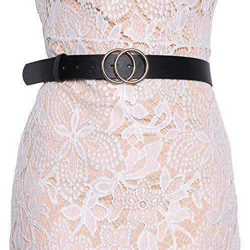 Earnda Women's Leather Belt Fashion Soft Faux Leather Waist Belts For Jeans Dress Black M