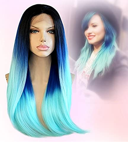 Cbwigs Long Natural Straight Synthetic Lace Front Heat Resistant Wigs, Three Tone Black Blue Light Green Ombre Hair Wigs for African American Women 18 Inch (Status Of A Returned Item)