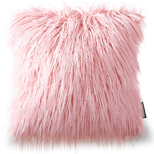 "Phantoscope Decorative Pink Faux Fur Throw Pillow 18"" x 18"""