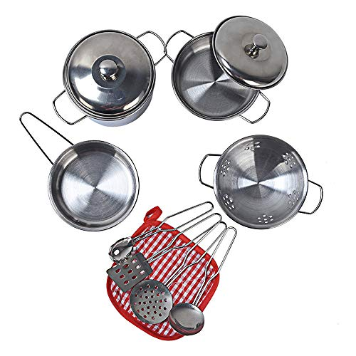 FarJing 11Pcs Stainless Steel Pots Pans Cookware Miniature Toy Pretend Play Gift for Kid by FarJing (Image #4)