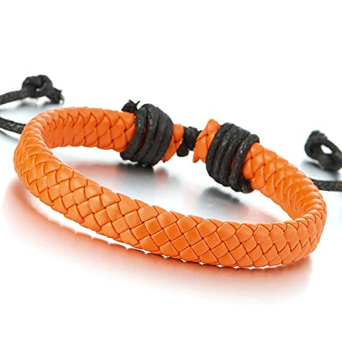 Classic Mens Womens Orange Braided Leather Bracelet Wristband Genuine Leather Wrap Bracelet (Genuine Bracelets Orange)