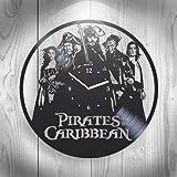 Pirates of the Caribbean 5 Jack Sparrow Johnny Depp Handmade Vinyl Wall Clock, Art, Home Decor, Movie, Home Decorations For Kids Room Inspirational, Best Gift For Him, Unique Design, Home Decor