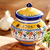 Blue and Yellow Ceramic Garlic Jar by La Tienda