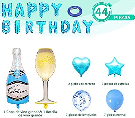 Globo De Cumpleaños Champagne, Decoración Azul Feliz Cumpleaños, Despedida De Soltero, Botella De Vino, Globo De Látex, Mujer, Niña
