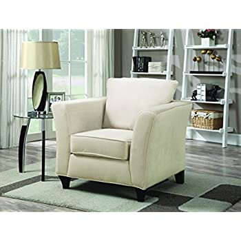 Good Coaster Park Place Casual Cream Upholstered Chair With Flair Tapered Arm