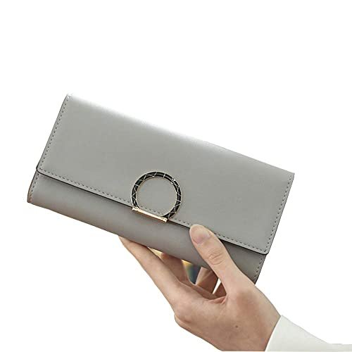 53b185ba169 IFUNLE Womens PU Leather Long Wallet Large Capacity Trifold Clutch ...