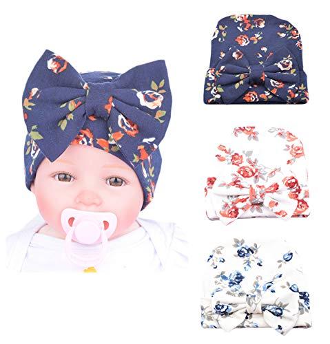 Xinshi Newborn Hat Soft Turban Baby Girl Big Bow Knot Cap (HC02 (3PCS))]()