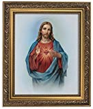 jesus picture - Gerffert Collection Sacred Heart of Jesus Christ Framed Portrait Print, 13 Inch (Ornate Gold Tone Finish Frame)