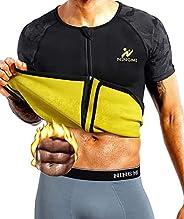 NINGMI Mens Sweat Neoprene Sauna Suits for Weight Loss Body Shaper Fitness Workout Top Shirt Zipper Short Slee