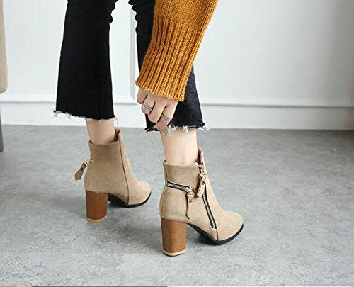 KHSKX-Herbst Und Winter Schuhe Mit Harter Stiefel Schuhe Stiefeletten Und Hochhackige Stiefel Nackt Martin Britischen Stil Mit Einheitlichen Stiefel Schuhe - Apricot