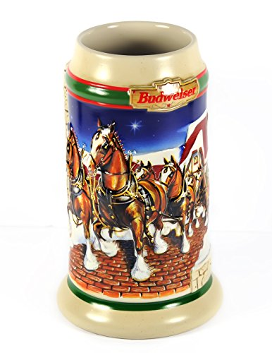 - 1998 Grant's Farm Holiday Anheuser Busch Budweiser Beer Stein Mug Clydesdales