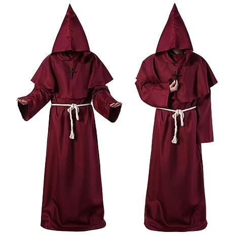 JK Disfraz de Monje, Bata Medieval para Amigo, con Capucha, Disfraz de Monje renacentista, Sacerdote, Capa de Capa para Halloween