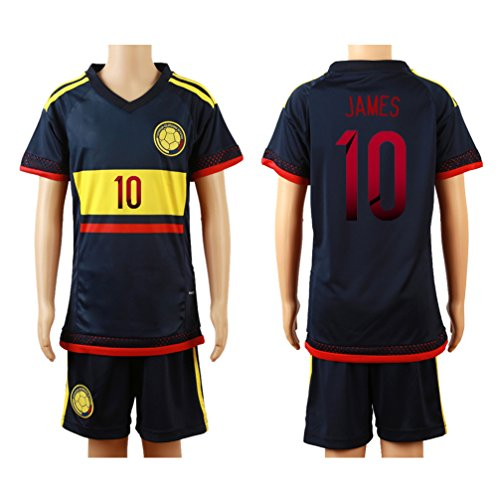 2015/16 Colombia Deep Blue (Away) #10 James Rodriguez Football Soccer Kids Jersey & Shorts